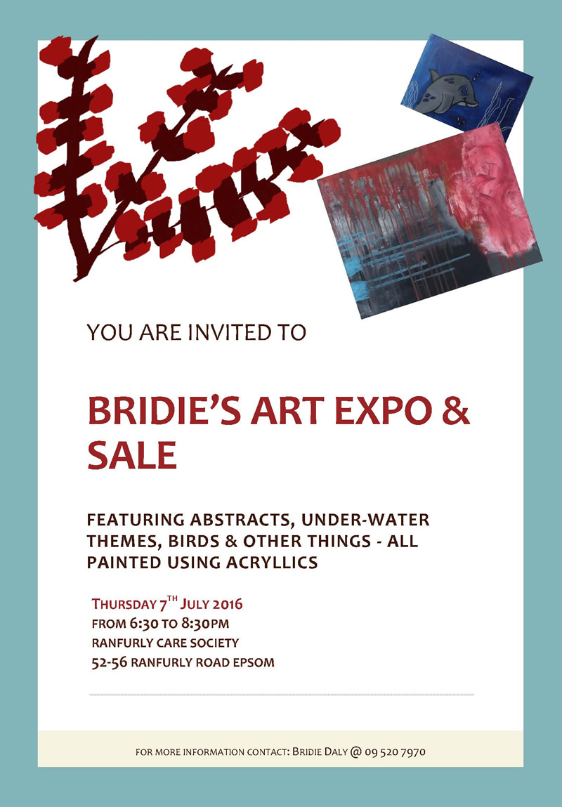 Invitation to Bridie's Art Expo & Sale